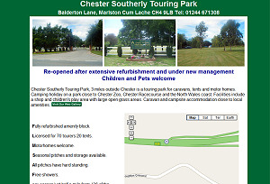 Chester Southerly Touring Park, 3 miles outside Chester is a touring park for caravans, tents and motor homes.