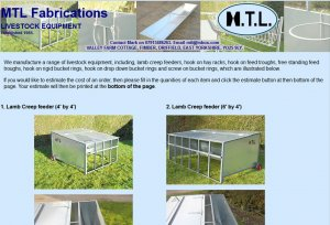 MTL Fabrications mtl fabrications, producers of lamb creep feeders, hay racks,feed troughs and  bucket rings for the farming industry.