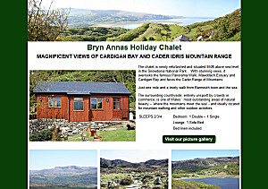 The chalet is newly refurbished and situated 850ft above sea level in the Snowdonia National Park .  With stunning views, it overlooks the famous Panorama Walk, Mawddach Estuary and Cardigan Bay and faces the Cader Range of Mountains.